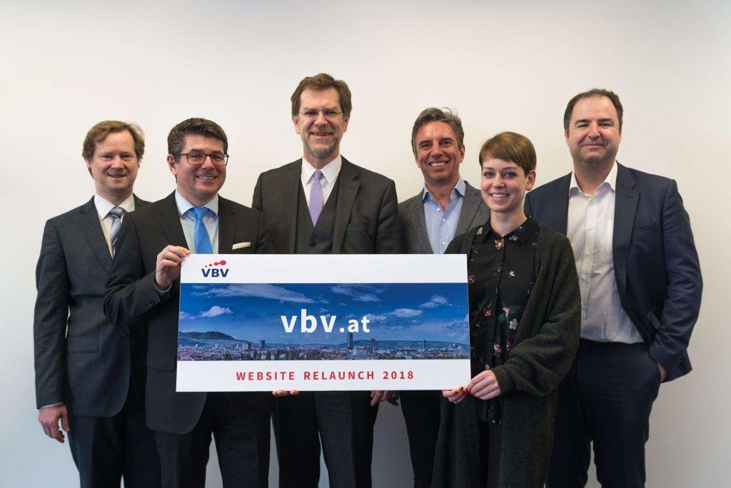 Das Projektteam hinter dem Launch einer komplett neuen Website-Familie für die VBV-Gruppe: DI Paul Ramoser, Mag. Otto Lauer, Mag. Andreas Zakostelsky, Dipl.-Kfm. Alexander Reiberger, Iris Engelmayer, BSc und Mag. Rudolf Greinix, MBA.