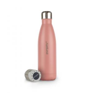Die purgaty-Edelstahlflasche mit integrierter Desinfektionseinheit ist wie das purgaty Brain made in Austria und wird in trendigen Farben und in den Größen 500 Milliliter und 700 Milliliter angeboten.